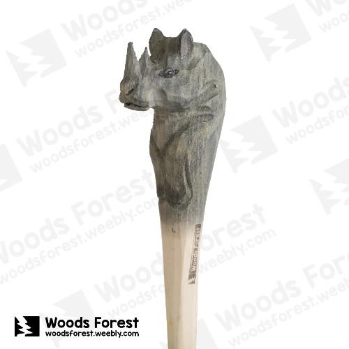 木雕森林 Woods Forest - 手工動物木雕筆【犀牛】( 筆質量輕;握筆輕鬆舒適;滑順好寫,用完可替換,實用且經濟!)