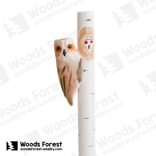 木雕森林 Woods Forest - 手工動物木雕筆【貓頭鷹樹】( 筆質量輕;握筆輕鬆舒適;滑順好寫,用完可替換,實用且經濟!)