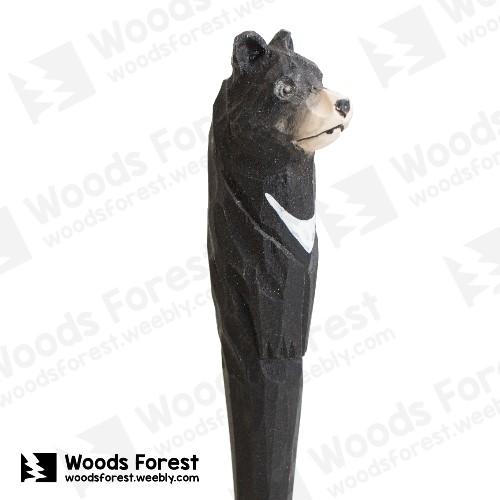 木雕森林 Woods Forest - 手工動物木雕筆【黑熊】( 筆質量輕;握筆輕鬆舒適;滑順好寫,用完可替換,實用且經濟!)