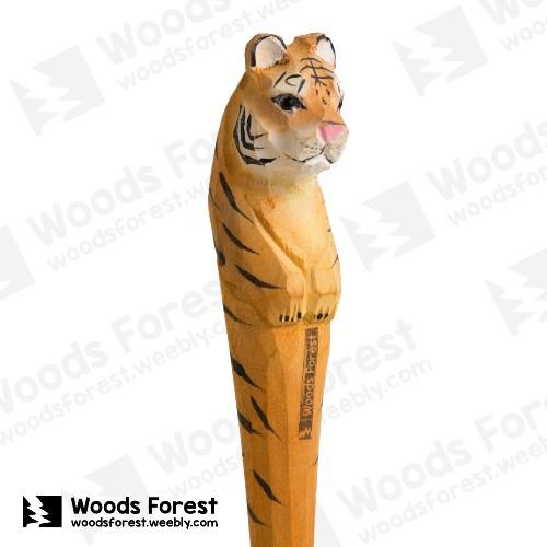木雕森林 Woods Forest - 手工動物木雕筆【老虎】( 筆質量輕;握筆輕鬆舒適;滑順好寫,用完可替換,實用且經濟!)