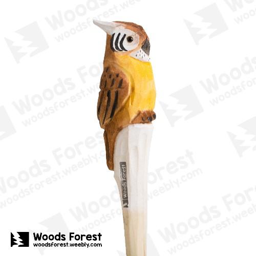 木雕森林 Woods Forest - 手工動物木雕筆【黃腹貓頭鷹】( 筆質量輕;握筆輕鬆舒適;滑順好寫,用完可替換,實用且經濟!)