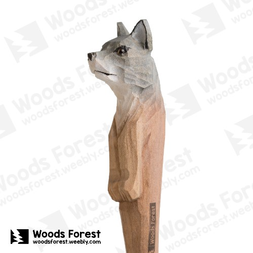 [絕版品] 木雕森林 Woods Forest - 手工動物木雕筆【大野狼】( 筆質量輕;握筆輕鬆舒適;滑順好寫,用完可替換,實用且經濟!)Woods Forest 木雕森林 - 手工木雕筆【大狼】