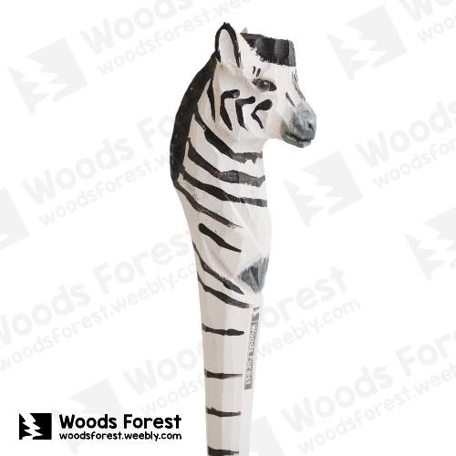 木雕森林 Woods Forest - 手工動物木雕筆【斑馬】( 筆質量輕;握筆輕鬆舒適;滑順好寫,用完可替換,實用且經濟!)
