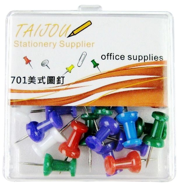 T&J #701 彩色美式圖釘 ( 30個)