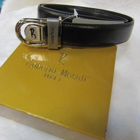 ~雪黛屋~Roberto Mocali 義大利 紳士西裝皮帶 100%皮革 紳士 (洞扣式 )可調整皮帶 RM3062 黑