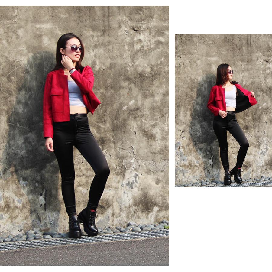 G.W.修身短版長袖軍外套【紅色】❥高質绒皮手感佳❥韓版麂皮❥時尚帥氣百搭❥多色❥泫雅*紅.卡其.軍綠.淺灰♛GuessWhat