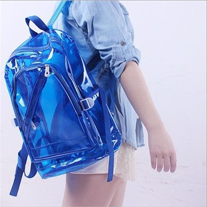 糖衣子輕鬆購【DS160】時尚潮流可愛糖果色包透明雙肩包熒光包包沙灘泡湯溫泉必備