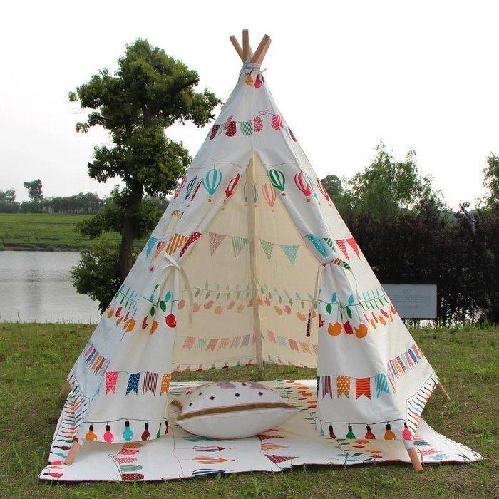 =優生活=『夏日野餐優惠』韓國純棉布兒童遊戲屋印第安帳篷過家家幼兒園玩具 野餐帳篷 野餐墊 兒童帳篷