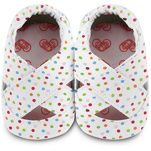 【HELLA 媽咪寶貝】英國 shooshoos 安全無毒真皮手工鞋/學步鞋/嬰兒鞋_多彩糖果芭蕾舞鞋_GHWH35MD (公司貨)