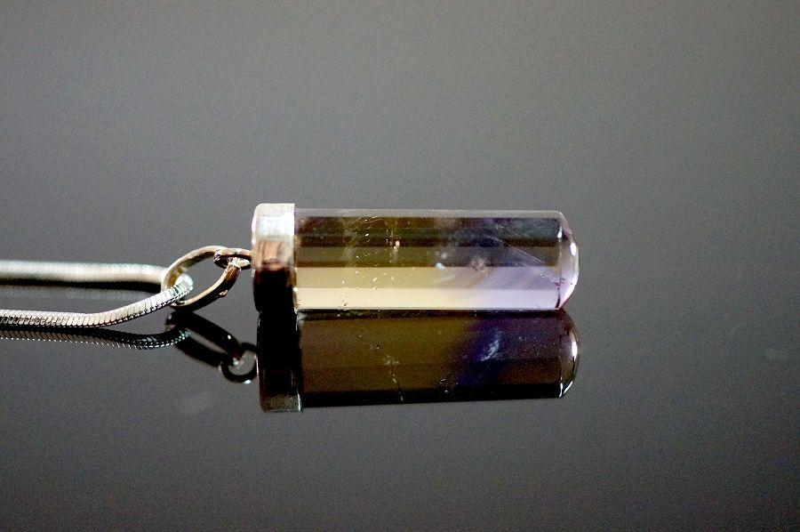 【喨喨飾品】紫黃晶墜飾 銀飾花蓋  M265