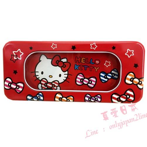 【真愛日本】16090500010大開窗鐵筆盒-KT紅  三麗鷗 Hello Kitty 凱蒂貓    收納 筆盒