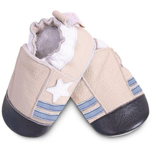 【HELLA 媽咪寶貝】英國 shooshoos 安全無毒真皮手工鞋/學步鞋/嬰兒鞋_米色小星星_SCR14 (公司貨)