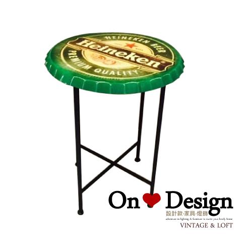 On ♥ Design ❀復古瓶蓋造型綠色邊几 矮桌茶几咖啡桌 創意邊桌擺件 海尼根鐵桌