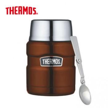 THERMOS 膳魔師 sk3000 不鏽鋼真空燜燒食物罐/保溫杯 470ml 咖啡色 *夏日微風*