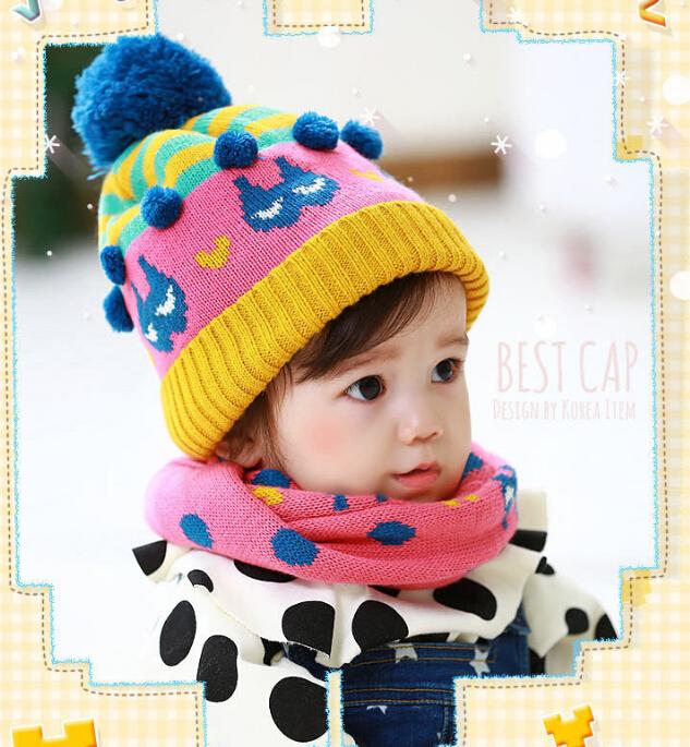 冬季保暖可愛豆豆帽圍巾組