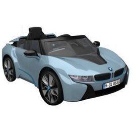 【淘氣寶寶】原廠寶馬BMW I8 雙開門電動車(附遙控)(雙驅)W480QHG(緩起步) 水藍色【贈 動物家族拉拉樂積木】