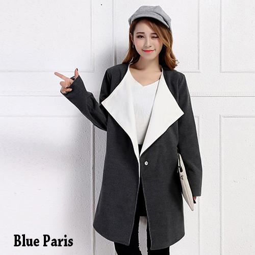 外套 - 翻領開襟一釦毛呢長大衣外套【29204】藍色巴黎《2色》現貨 + 預購