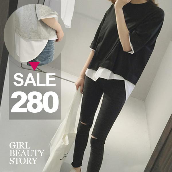 SISI【T6077】休閒簡約圓領純色寬鬆襯衫拼接假兩件五分袖T恤上衣