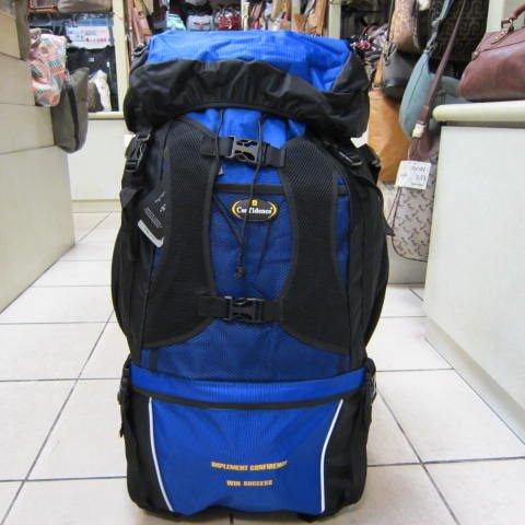 ~雪黛屋~CONFIDENCE 大型登山後背包 分層設計 附隱藏式雨衣罩 69L 防水特多龍600D CB9731藍
