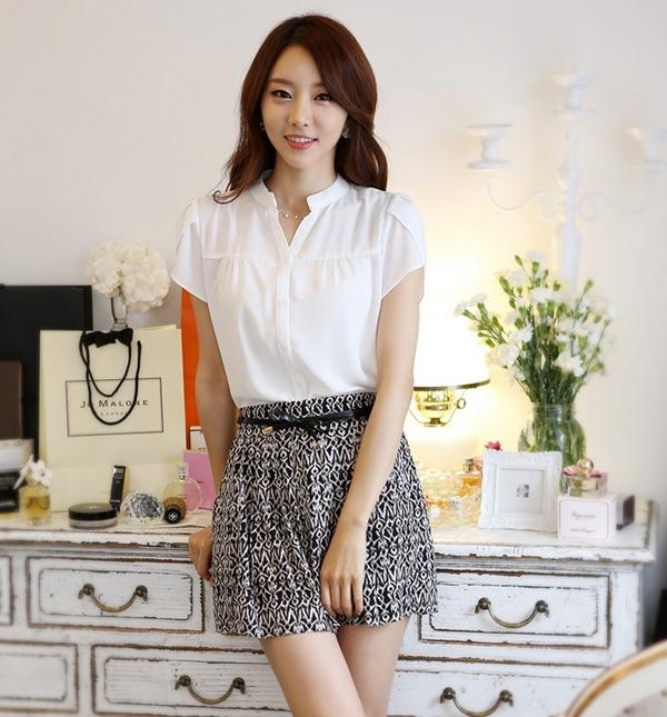 2015韓劇女神 劉仁娜款 短袖襯衫 OL襯衫 雪纺衫CPS02