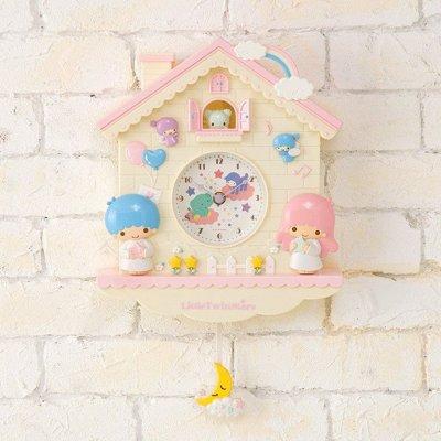 【真愛日本】15102800031 粉屋掛鐘-TS搖擺月亮 三麗鷗家族 Kikilala 雙子星 鐘錶 時鐘 居家裝飾