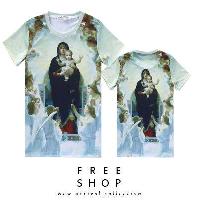 Free Shop【QFSLY2257】日韓美式滿版聖母抱子天使歡慶造型圓領棉質短T短袖上衣潮T