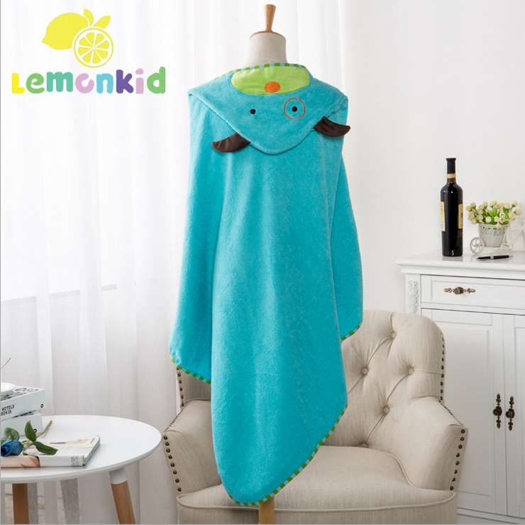 Lemonkid◆可愛卡通造型純棉柔軟吸水寬大蓋毯兒童嬰兒浴巾帶帽毛巾被浴袍90*90cm-天藍色小狗