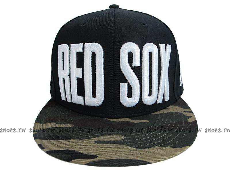 《降價7折》Shoestw【5562003-019】MLB 棒球帽 調整帽 潮流帽 紅襪隊 黑綠迷彩 大字款