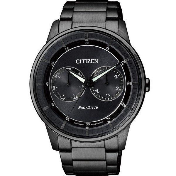 CITIZEN星辰BU4005-56H炫黑特色雙眼光動能腕錶/黑面42mm