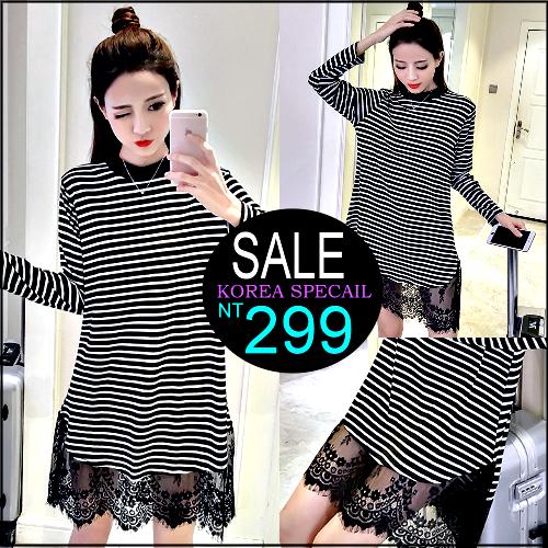 克妹Ke-Mei【ZT34815】韓國時尚chic風黑白條紋併接緹花蕾絲圓領洋裝
