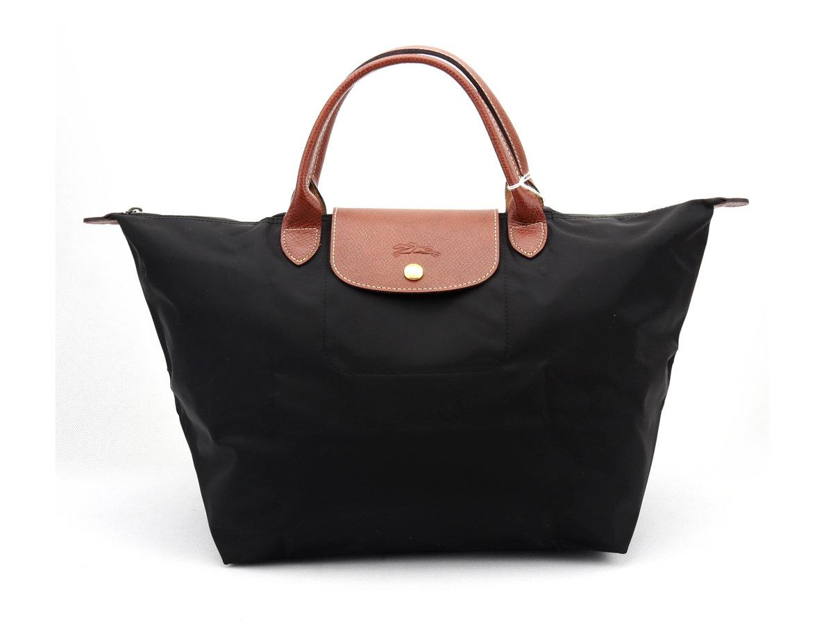 [1623-M號] 國外Outlet代購正品 法國巴黎 Longchamp 長柄 購物袋防水尼龍手提肩背水餃包墨黑色