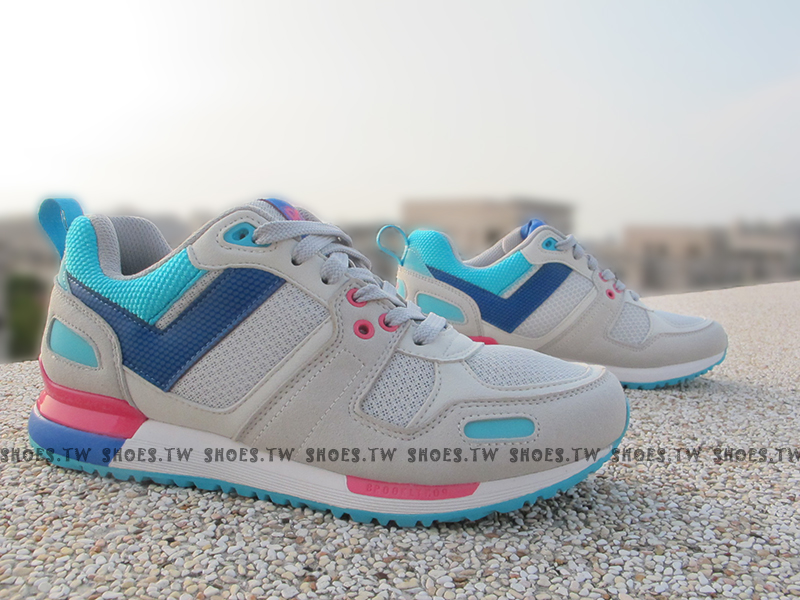 《超值7折》Shoestw【53W1EP66SY】PONY 復古慢跑鞋 EMPIRE 灰藍桃紅 ZX700