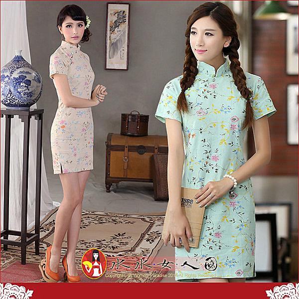 【水水女人國】~回饋特價550元~桃色風情。復古亞麻花布改良式時尚短旗袍
