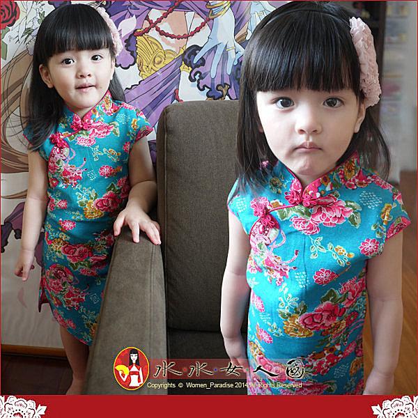 【水水女人國】~*超口愛Q版童裝旗袍*~復古牡丹印花。小女生短袖短旗袍*藍色