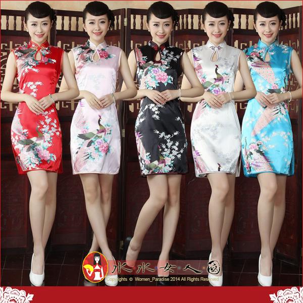 【水水女人國】~氣質短旗袍~孔雀風情。水滴領彈力絲改良式無袖短旗袍(五色)