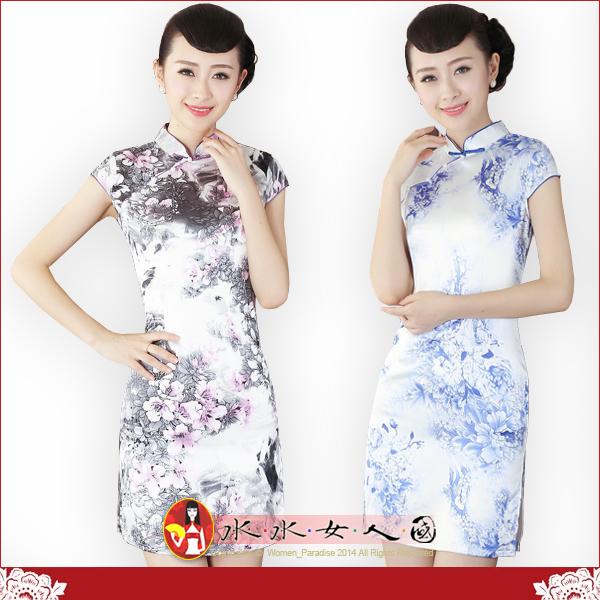 【水水女人國】~特價399元~花影。彈力絲包袖改良式時尚短旗袍