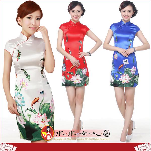 【水水女人國】~特價399元~鯉魚戲荷。彈力絲包袖改良式時尚短旗袍*三色