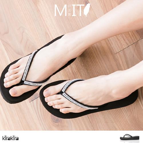 拖鞋  SALE 輕便亮麗水鑽人字夾腳楔型拖鞋【011600115】