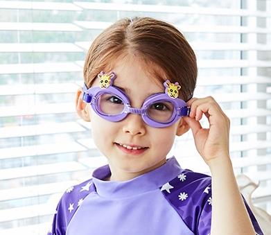 Kocotree◆可愛動物小鹿長頸鹿卡通造型兒童泳鏡防水護目鏡-紫色