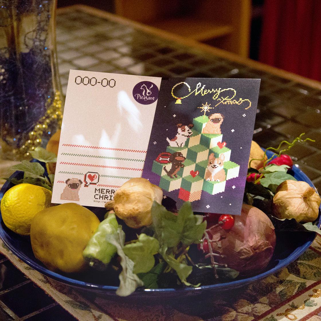 普萊森特|狗狗8-BIT風格聖誕明信片