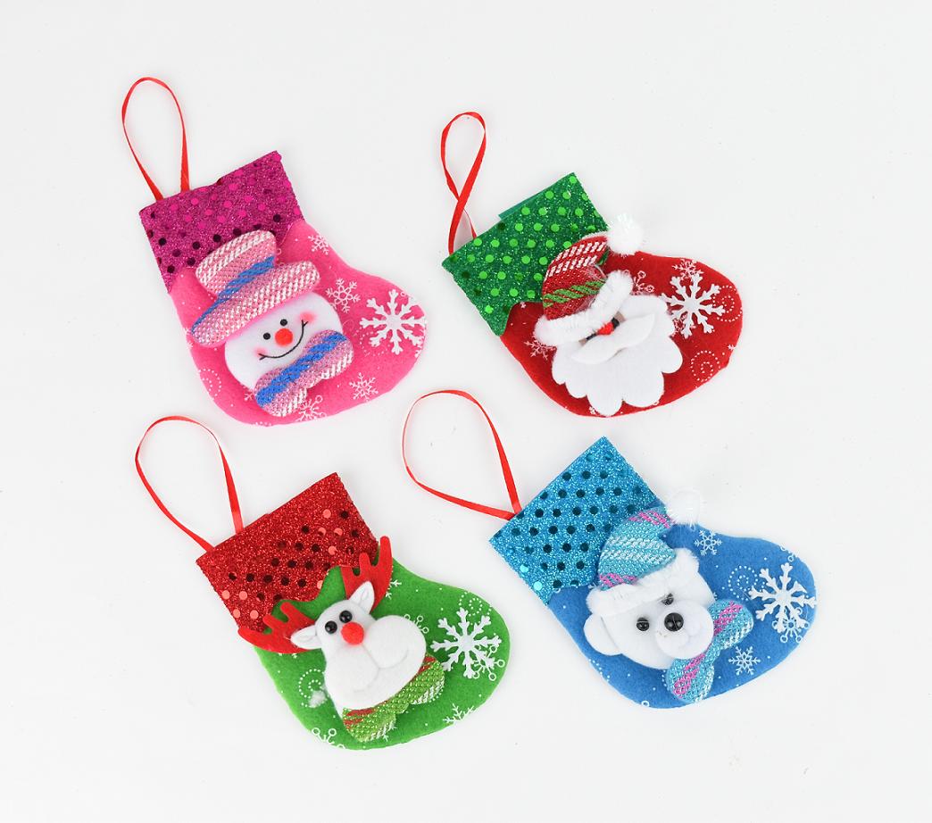 X射線【X457005】亮片公仔聖誕襪(隨機出貨),聖誕節/交換禮物/掛飾/裝飾/吊飾/聖誕襪/禮物袋/糖果袋