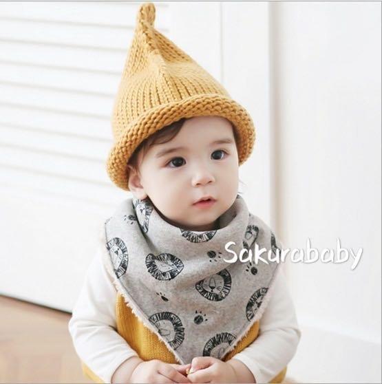 獅子加絨三角口水巾 冬款圍兜 三角巾 絨毛保暖 _櫻花寶寶