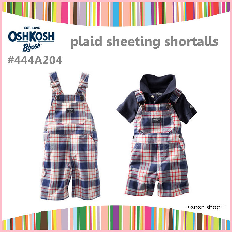 ++enen shop++ OshKosh B'gosh 紅藍格紋吊帶短褲 ∥ 12M/24M