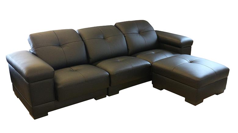 【尚品傢俱】200-19 酷比勒 黑色L型功能皮沙發/家庭沙發/客廳沙發/會客沙發/Sofa