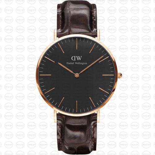 40MM 0128DW 黑錶面 玫瑰金邊 真皮錶帶 瑞典正品代購 Daniel Wellington 男錶手錶腕錶