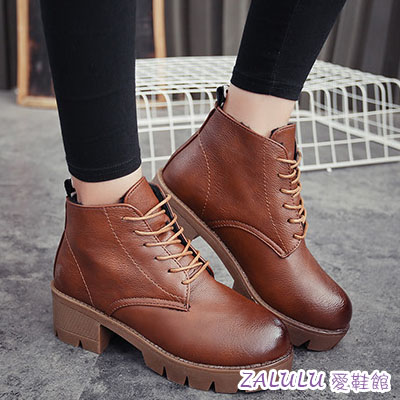 ☼zalulu愛鞋館☼ IE409 預購日韓新款綁帶低跟素面深口短筒短靴-偏小-棕/灰/黑-36-40