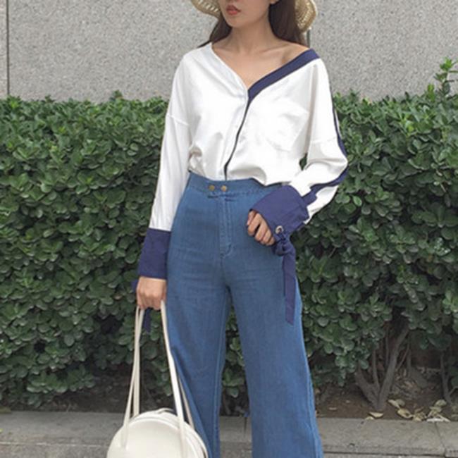 50%OFF【G016954C】實拍~早秋新款大v領白色拼藏青麻袖子珍珠襯衫
