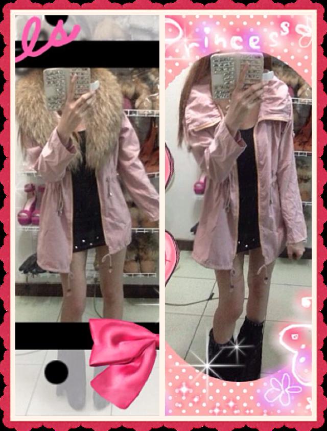 【TwinsLady】休閒外套 粉色,毛領是另搭的沒附喔