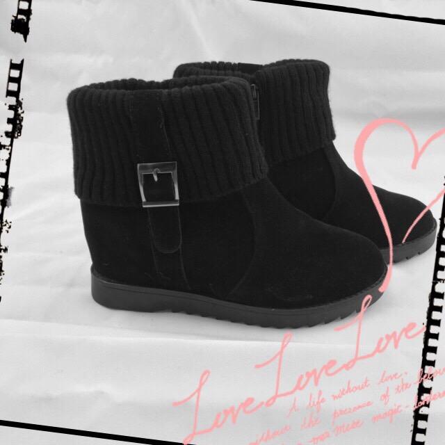 【TwinsLady】假反折低筒靴 黑色