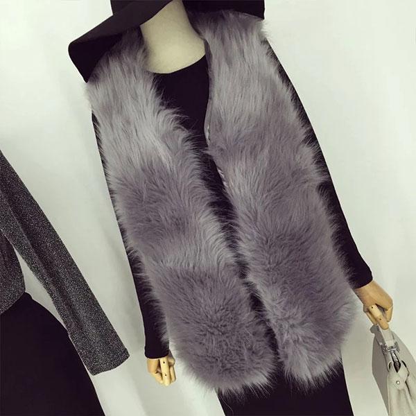 皮草 背心 毛毛 爆毛 兔毛 大衣 外套 外搭 長版 黑灰 韓